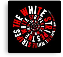 White Stripes Circle Canvas Print