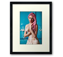 Freaky young female model wearing corset Framed Print
