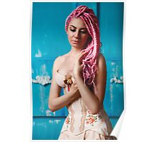 Freaky young female model wearing corset Poster