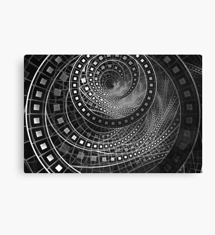 Silver Screen Fractal Dreams in Glorious Black and White Canvas Print