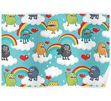 Monsters rainbow Poster