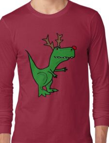 Cool Funny Christmas T Rex Dinosaur with Antlers Long Sleeve T-Shirt