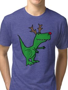 Cool Funny Christmas T Rex Dinosaur with Antlers Tri-blend T-Shirt