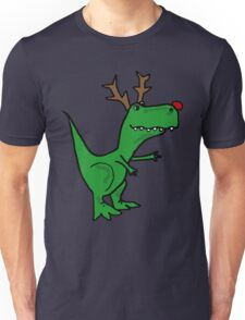 Cool Funny Christmas T Rex Dinosaur with Antlers Unisex T-Shirt