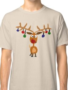 Cool Funny Rudolph Red Nosed Reindeer Christmas Art Classic T-Shirt