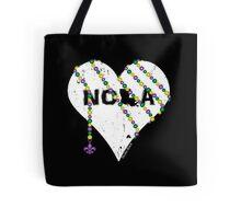 NOLA Heart Wrapped in Mardi Gras Beads (white) Tote Bag