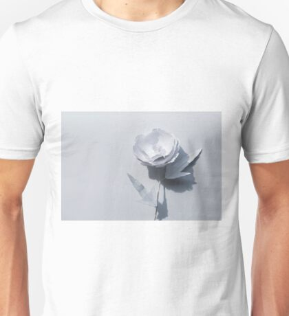 White paper flower on white Unisex T-Shirt