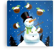 Juggling Snowman Metal Print