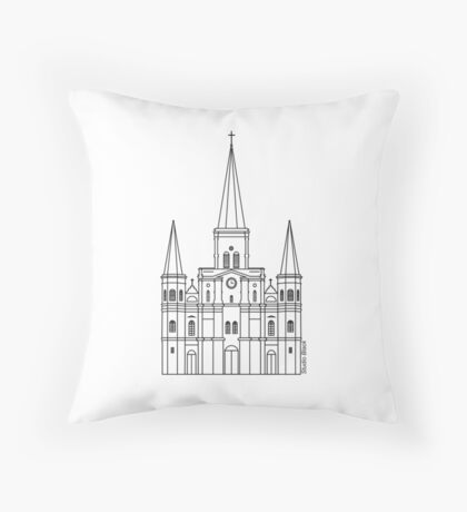 St. Louis Cathedral (Black) Throw Pillow