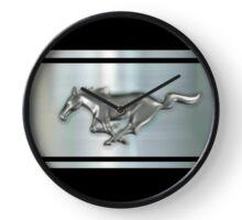 metallic Chrome Silver Stallion  Clock