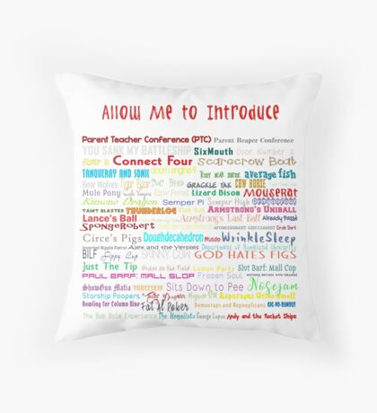 Parks and Rec Andy's Band Names- Mouserat and more! Throw Pillow