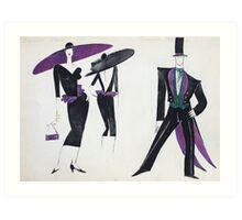 New York City couple - character & costume design illustration Art Print