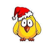 Funny Santa Chicken Photographic Print