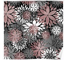 Pretty rose gold floral illustration pattern Poster