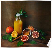 Bottle of Fresh Squeezed Orange Juice Poster