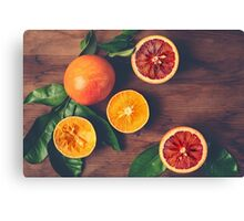 Still Life with Ripe Juicy Citrus Fruits Canvas Print