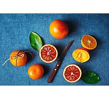 Still Life with Ripe Juicy Citrus Fruits Photographic Print