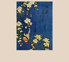 Bullfinch and Drooping Cherry by Katsushika Hokusai (Reproduction) Womens Fitted T-Shirt