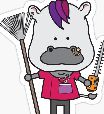 Hank the Hairdresser Hippopotamus Sticker