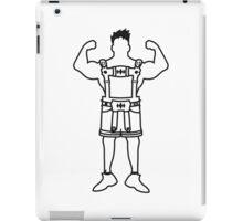 cool groß stark muskeln bodybuilder training trainieren mann lederhose tracht bayern oktoberfest party anzug bier saufen feiern  iPad Case/Skin