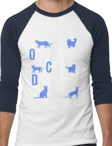 Funny OCD Obsessive Cat Disorder Men's Baseball ¾ T-Shirt