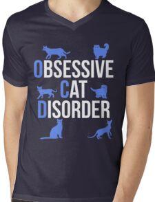 Funny OCD Obsessive Cat Disorder Mens V-Neck T-Shirt