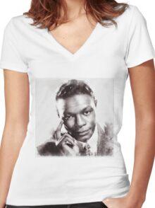 Nat King Cole, Singer Women's Fitted V-Neck T-Shirt