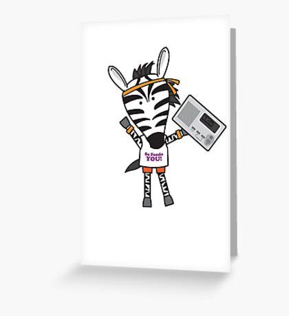 Zeke the Zumba Instructor Zebra Greeting Card