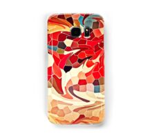 Abstract Stained Glass Battling Firebirds in Fiery Red Orange Yellow 2 Samsung Galaxy Case/Skin