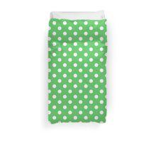 Polka Dot White On Green Duvet Cover