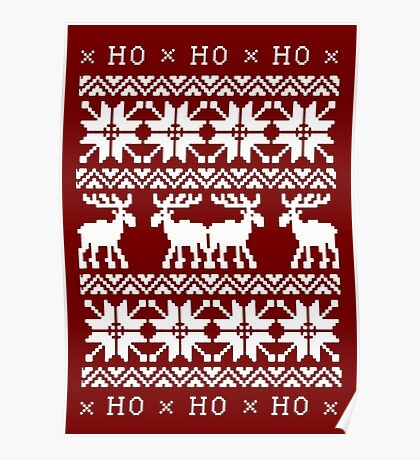 CHRISTMAS DEER SWEATER KNITTED PATTERN Poster
