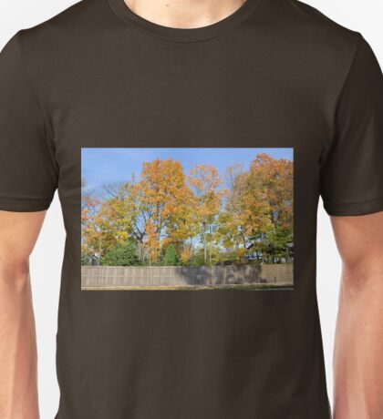 Autumn Trees Behind the Fence Unisex T-Shirt