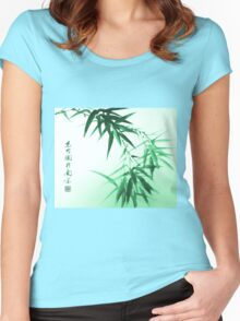 Green Bamboo Twig Women's Fitted Scoop T-Shirt