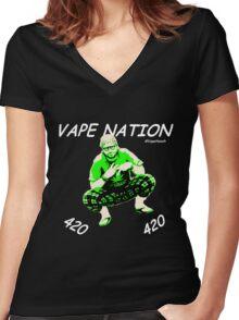 Vape Nation Fresh White 100% Organic Plastic Tee - ONE:Print Women's Fitted V-Neck T-Shirt