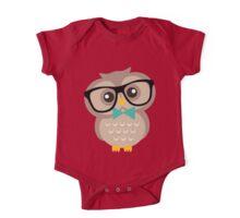 Cute Hipster Owl One Piece - Short Sleeve