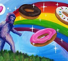 Bigfoot with Rainbow and Donuts by Katie Clark