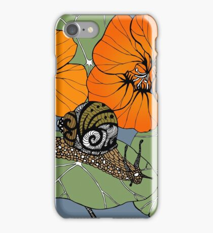 Snail with Nasturtiums iPhone Case/Skin