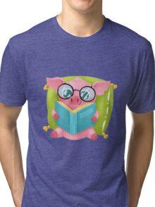 Molly the Micro Pig - Cute Reader Tri-blend T-Shirt