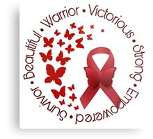 Red Awareness Ribbon with Butterfly Metal Print