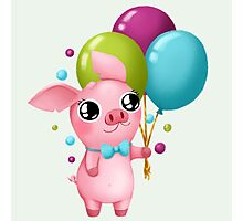 Molly the Micro Pig - Cute Balloons Photographic Print