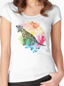 Thylacine over Watercolour Women's Fitted Scoop T-Shirt