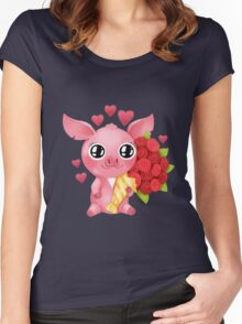 Molly the Micro Pig - Flowers and Love Women's Fitted Scoop T-Shirt
