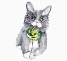 Cat With Lollipop. Watercolor Art Print Kids Tee