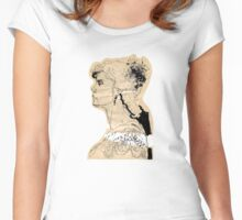 Vintage girl ink drawing on craft paper Women's Fitted Scoop T-Shirt
