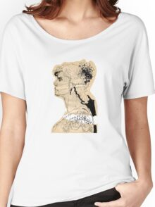 Vintage girl ink drawing on craft paper Women's Relaxed Fit T-Shirt
