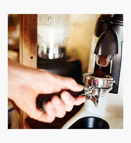 Coffee mill machine making espresso Photographic Print