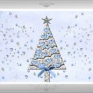 Decorated Blue and Silver Christmas Tree by Vickie Emms