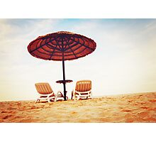 Tropical beach view with two chaise longues Photographic Print