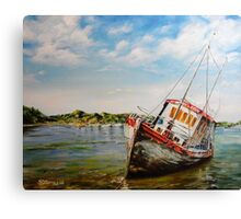 """Grey Lady"" Abandoned Boat Canvas Print"