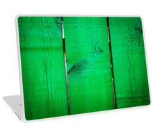 Old green wooden fence texture Laptop Skin